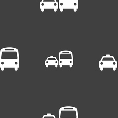 Taxi icon sign seamless pattern on a gray vector