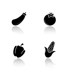 Vegetables drop shadow icons set vector