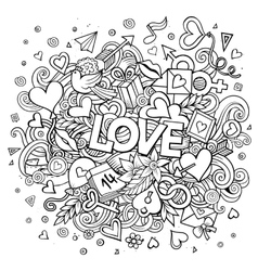 Cartoon hand drawn doodle love vector