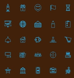 Business start up blue line icons vector