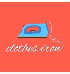 Clothes iron lettering on red background vector