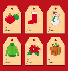 a set of six christmas or new year tags with vector image vector image