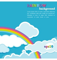 Background with rainbow and clouds vector