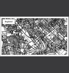 Baghdad iraq city map in black and white color vector