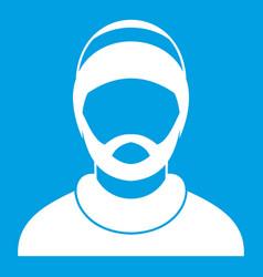 Bearded man avatar icon white vector