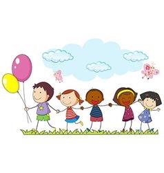 Children holding hands in the park vector