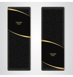 Elegant black leather vertical banner with two vector image