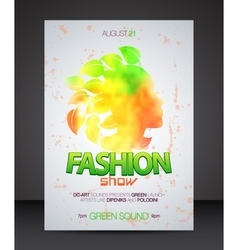Fashion show flyer with multicolor woman vector