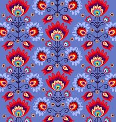 Floral folk blue background vector