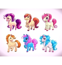 Funny cartoon horse characters vector