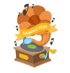 gramophone vintage musical instrument for design vector image