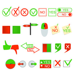 Green yes and red no sign set vector