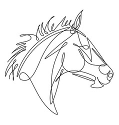 horse continuous line vector image