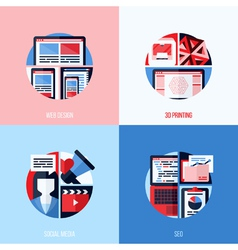 icons of web design 3D printing social media SEO vector image vector image