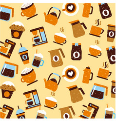 icons set coffee delicious flat vector image