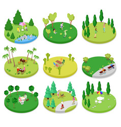 Isometric outdoor park composition set vector