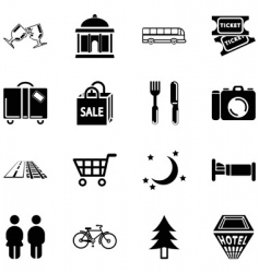 location tourism icons vector image vector image