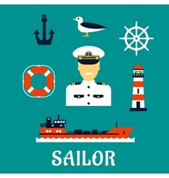 Old sailor with flat nautical icons vector image