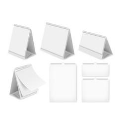 paper blank desk calendar set realistic vector image