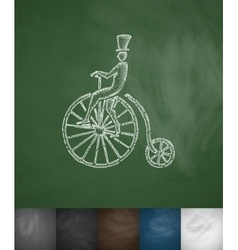 Penny farthing icon hand drawn vector
