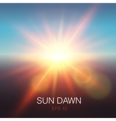 Realistic sun dawn beams vector