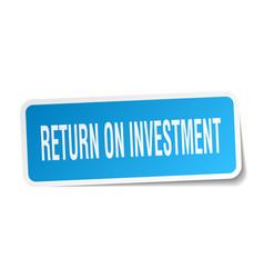Return on investment square sticker on white vector