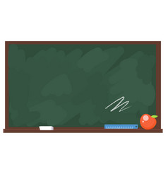 School board with chalk apple and ruler vector