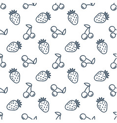 seamless patterns line icons fruit strawberry and vector image
