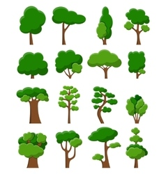 Set of sixteen trees vector image vector image