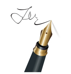 Signing with a fountain pen isolated object vector