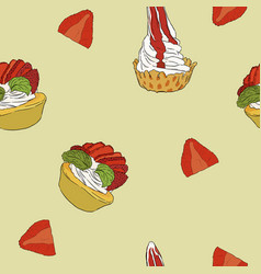 Strawberry cheese cake hand draw sketch vector