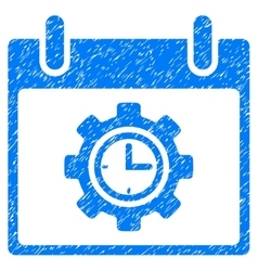 Time gear calendar day grainy texture icon vector