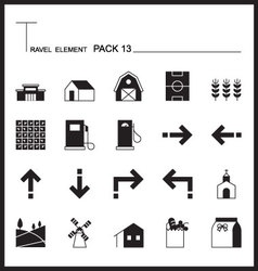 Travel Element Line Icon Set 13Country thin icons vector image