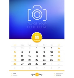 Wall calendar template for 2017 year november vector