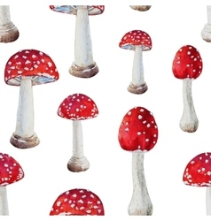 Watercolor mushroom pattern vector