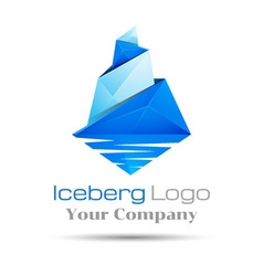 Blue iceberg brand sign colorful 3d volume logo vector