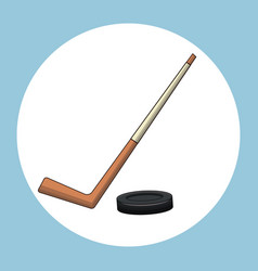 hockey puck stick symbol vector image