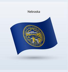 State of nebraska flag waving form vector