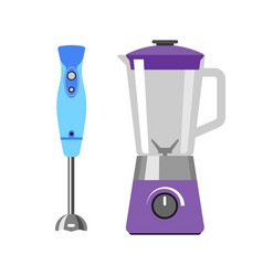 Electrical hand mixer dishware isolated vector