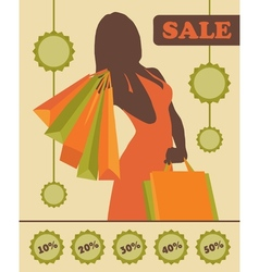 Shopping woman silhouette with sale stickers vector