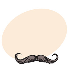 Human hipster curled up mustache decoration vector