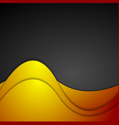 Orange and black wavy corporate background vector