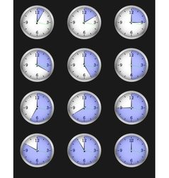 Set of twelve alarms indicating different times vector
