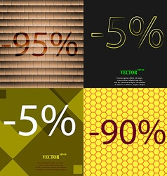 5 90 icon set of percent discount on abstract vector
