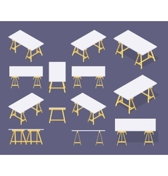 Isometric work tables vector