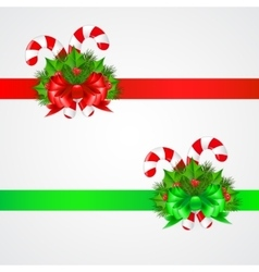 Traditional christmas candy cane with decor vector