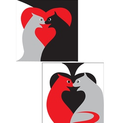 black and red cats vector image