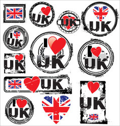 I love uk ink rubber stamp set vector