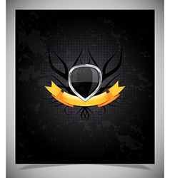 Abstraction dark background with metal badge vector image vector image