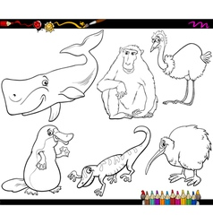 animals and food coloring page vector image